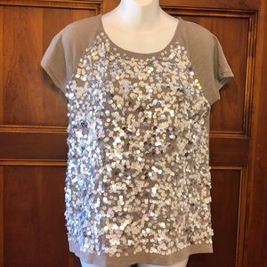 Ann Taylor Loft Sequined Tee.  Size Small